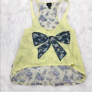Rue21 Tank Top Floral Bow Print Yellow Sheer Back